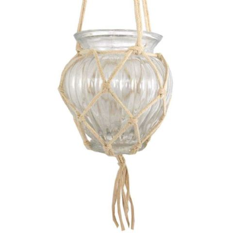 Hanging Macrame Glass Garden Candle Holder